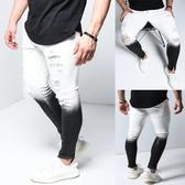 特惠 歐美亞馬遜男士新款破洞彈力緊身牛仔褲漸變色腳口拉鏈男褲潮