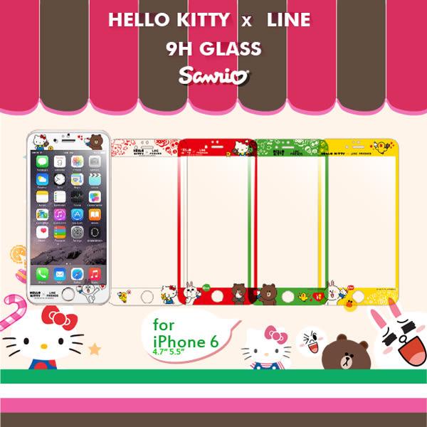 FEEL時尚 iPhone 6 6s+ Plus 5.5吋 9H正版三麗鷗 HELLO KITTYxLINE 熊大兔兔 滿版 浮雕鋼化玻璃 螢幕保護貼
