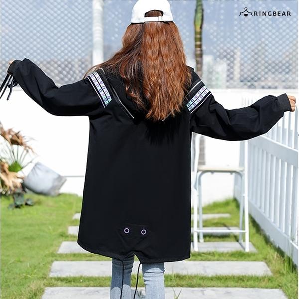 加大尺碼--電音風格亮眼袖圍織帶金屬拉環設計連帽長版外套(黑L-3L)-J332眼圈熊中大尺碼◎
