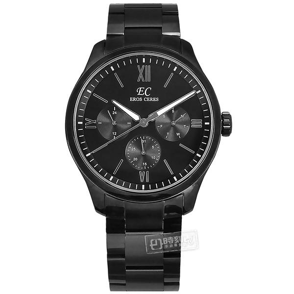 EROS CERES / GQ6258BK-BK / 經典潮流 三眼三針 藍寶石水晶玻璃 日期星期 日本機芯 不鏽鋼手錶 鍍黑 44mm