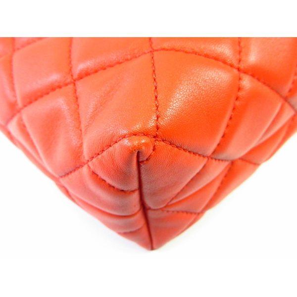 CHANEL 香奈兒 橘紅色菱格紋羊皮銀鍊肩背包 【BRAND OFF】