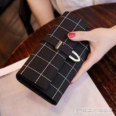歐美長款錢包女復古磨砂三折時尚百搭女式大容量手拿皮夾 概念3C旗艦店
