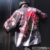 和服 港風外套男七分袖夏季文藝日系情侶和風開衫道袍和服BF寬鬆防曬衣   瑪麗蘇