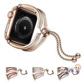 錶帶 適用于金屬錶帶 i 代手錶錶帶42mm38蘋果手錶錶帶40mm44女款手鐲鏤空錶帶 6色 雙12提前購