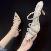 半拖鞋 半拖鞋女年新款水鉆一字帶尖頭細跟高跟鞋百搭涼拖鞋夏季外穿 星河光年