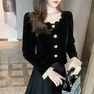 長袖襯衫~1347加厚冬新款女法式宮廷風復古開衫上衣絲絨短外套NE23816