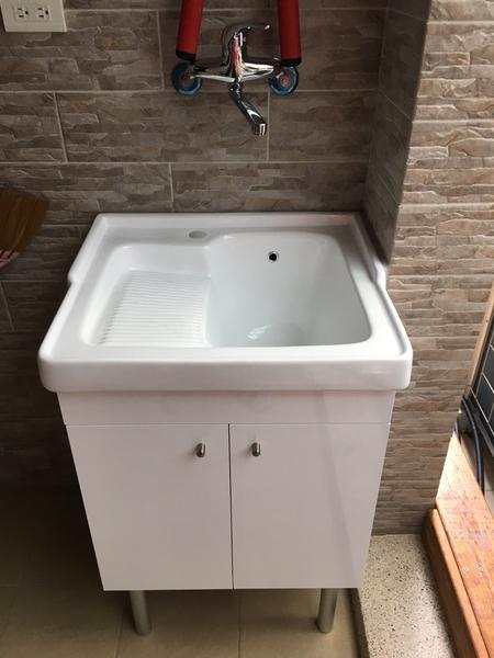 【麗室衛浴】陶瓷 洗衣槽浴櫃組 P-301 + P-301-4  耐用好清洗不變色不變形