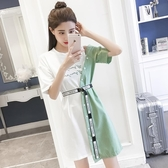 【YPRA】連身裙圓領短袖條紋T恤拼接假兩件不規則連身裙女休閒減齡