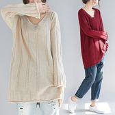 毛衣女中長款秋冬寬鬆大尺碼加厚V領套頭打底針織衫 降價兩天