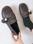 小皮鞋女 英倫風小皮質鞋女冬加絨黑色2019新款正韓百搭秋天復古學生平底單鞋【快速出貨】