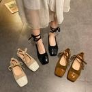 促銷全場九折 單鞋子女年新款春季方頭奶奶鞋百搭平底綁帶芭蕾舞復古豆豆鞋