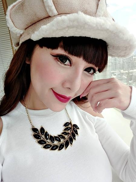 克妹Ke-Mei【AT49275】halosi歐洲站 波西米亞樹葉黑鑽鎖骨頸鍊(三款)