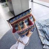 歡慶中華隊刺繡包包包女2019韓版ins超火鍊條斜背包原宿民族風帆布流蘇水桶包