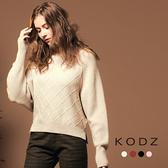 東京著衣【KODZ】慵懶柔膚立體織紋飛鼠袖多色針織上衣-S.M.L(172421)