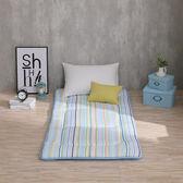 日式床墊 單人3X6尺5cm【時光線條-藍】 小資外宿 100%純棉折疊床 LAMINA台灣製