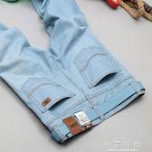 牛仔長褲 彈力淺色牛仔褲男士春直筒寬鬆夏天超薄款大碼牛子褲z淺藍色9 小艾時尚