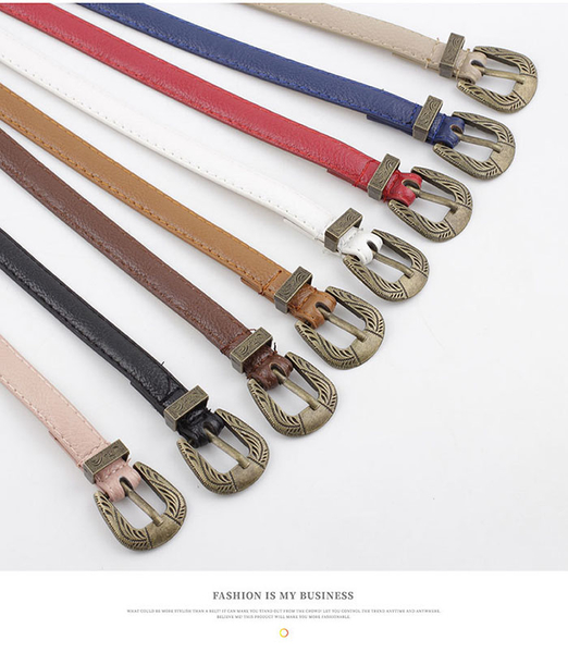 腰鏈皮帶 素色 金屬 雕花 針釦 裝飾 細皮帶 百搭 皮帶 腰帶【NR864】 BOBI  06/20