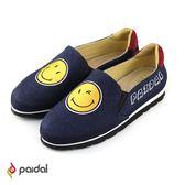 Paidal笑臉徽章輕運動休閒鞋樂福鞋懶人鞋-深藍