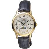 ORIENT東方 羅馬戀曲日曆女錶-金x咖啡色錶帶/34mm RA-KA0003S