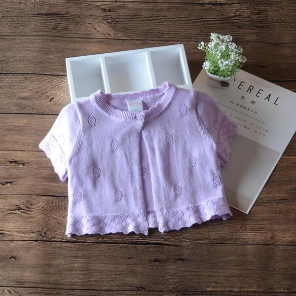 夏季女童短袖小披肩 針織開襟 4色