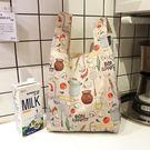 輕便中號環保超市購物袋 雙層便攜折疊收納...