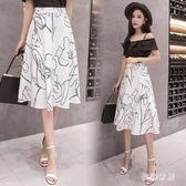 中大尺碼 新款韓版時尚花朵印花中長款半身裙 ZQ1436『夢幻家居』