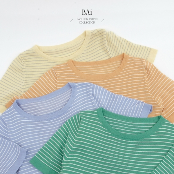 配色條紋圓領彈性薄針織上衣-BAi白媽媽【310577】