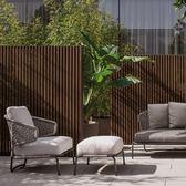 設計師編織繩沙發陽臺仿藤沙發軟裝樣版房北歐藤沙發戶外藤椅沙發YQS 小確幸