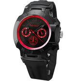 BAKLY 極速系列三環計時時尚腕錶-黑