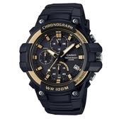 CASIO 全新進化大錶面三眼三圈指針運動錶-金圈(MCW-110H-9A)
