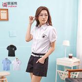 襯衫--顯瘦設計款盾牌徽章學院風公主袖襯衫(白.黑.藍M-2L)-H134眼圈熊中大尺碼