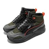 Puma 休閒鞋 X-Ray 2 Square Mid WTR 黑 綠 男鞋 中筒 復古慢跑鞋 老爹鞋 【ACS】 37302003