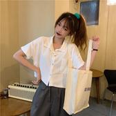 V領襯衫 高腰短款上衣女寬松夏季2020新款polo衫短袖v領港風薄款白色襯衫