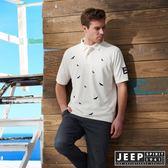【JEEP】滿版造型刺繡短袖POLO衫 (白)