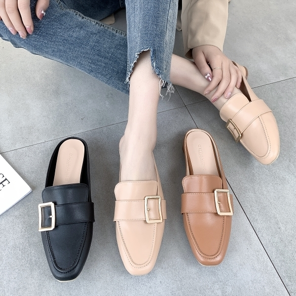 穆勒鞋.MIT氣質一字釦樂福方頭圓弧低跟拖鞋.白鳥麗子