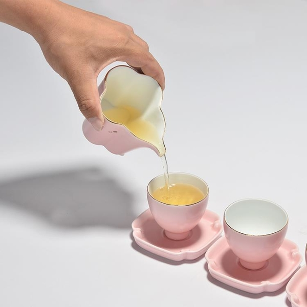 粉色茶具女士品茗杯功夫小茶杯蓋碗泡茶壺套裝陶瓷金