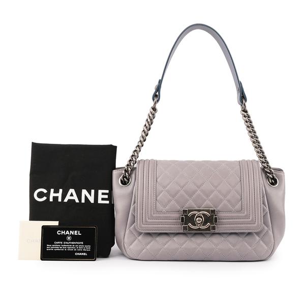 【CHANEL】boy chanel小款薰衣草紫色小羊皮菱格肩包 CH11000309