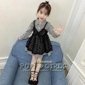 女童春裝2018新款洋裝韓版潮衣兒童洋氣公主裙春秋小女孩蕾絲裙