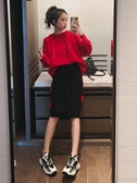 針織套裝女新款秋裝韓版寬鬆連帽套頭上衣配拼色半身裙兩件套 限時熱賣