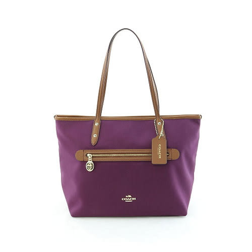 COACH 織布前拉鍊口袋托特包-紫