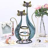 創意金屬首飾復古卡通貓咪耳環收納擺件項鍊手鍊飾品展示耳環架子        瑪奇哈朵