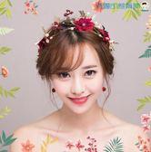 雙十一預熱韓式新娘頭飾紅花飾品三件套【洛麗的雜貨鋪】