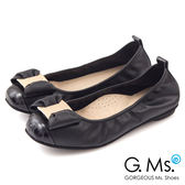 G.Ms.*  MIT系列-牛皮金飾穿釦蝴蝶結芭蕾舞娃娃鞋*知性黑