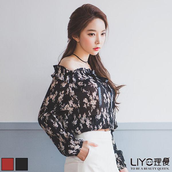 LIYO理優一字領印花雪紡上衣L635001