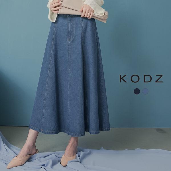 東京著衣【KODZ】KODZ 知性優雅高含棉後鬆緊中長牛仔裙-S.M.L(190045)