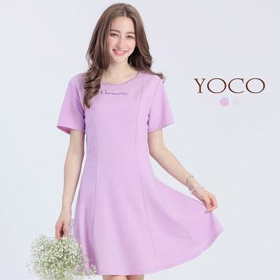 東京著衣【YOCO】蕾絲滾邊蝴蝶結裝飾洋裝-XS.S.M(6016695)