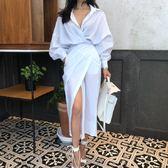 梨卡 - 韓版V領純色綁帶縮腰長袖連身裙開叉連身長裙洋裝BR124