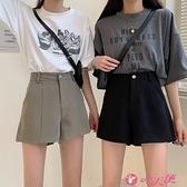 西裝短褲 黑色褲子女2021夏季新款寬鬆顯瘦闊腿短褲百搭高腰直筒休閒西裝褲 小天使 618