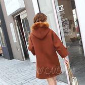 連帽毛呢外套 學生韓版學院風中長款牛角扣呢子大衣 米蘭shoe