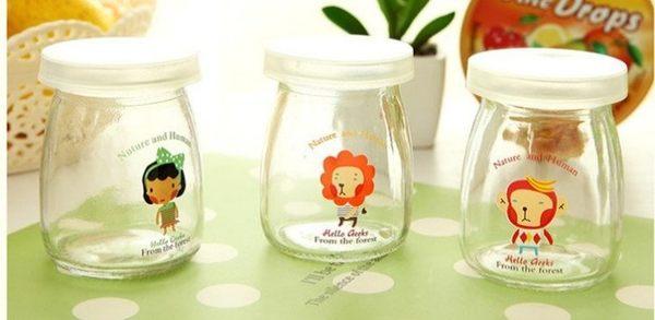 【發現。好貨】可愛卡通玻璃牛奶瓶 果凍布丁瓶附蓋子耐高温優格玻璃罐 100ML
